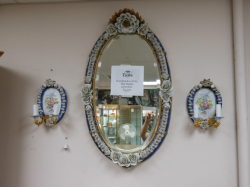 Italian Porcelain Mirror/Sconces $5,200- DLR 102